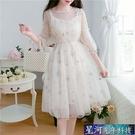網紗洋裝 春夏裝洋氣甜美很仙的法式桔梗裙小個子學生氣質超仙網紗連身裙子 星河光年