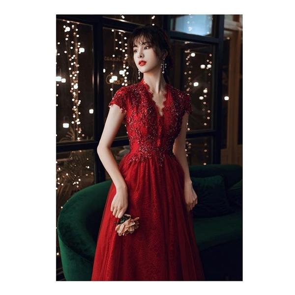 婚紗禮服 敬酒服新娘2020新款酒紅色結婚婚紗夏季薄款森系超仙優雅禮服
