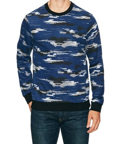 Eleven Paris長袖上衣 法國灰黑雲彩圖案深藍色設計款長袖T恤