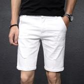 白色破洞牛仔短褲男五分褲韓版潮流寬鬆彈力5分休閒馬褲男潮  蘑菇街小屋