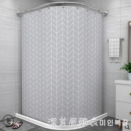 浴室防水布磁性浴簾套裝免打孔弧形桿衛生間洗澡間簾子淋浴隔斷簾 NMS漾美眉韓衣
