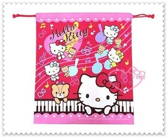 小花花日本精品♥ Hello Kitty 粉色 鋼琴.音樂.小熊.音符 日本製 縮口袋 束口袋 收納袋 42204404