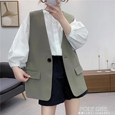 2021春季新款馬甲女背心韓版中長款黑色外穿西裝無袖外套百搭休閒 夏季新品