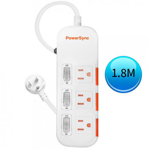 (最新安規款) PowerSync 群加 三開三插滑蓋防塵防雷擊延長線 1.8M (TPS333DN9018)