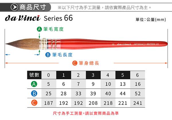 『ART小舖』da Vinci德國達芬奇 ARTISSIMO系列 V66 大師紅貂毛古典水彩筆 0號
