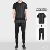 夏季迷彩短袖休閒套裝男裝2020新款韓版潮流大碼運動服薄款兩件套 LR19312【Sweet家居】