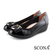 SCONA 蘇格南 全真皮 輕盈舒適OL厚底鞋 黑色 31051-1