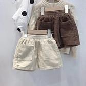韓國童裝 定制男女童2020秋冬凹造型燈芯絨時髦短褲 兒童靴褲 幸福第一站