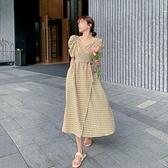 洋裝短袖裙子甜美S-XL新款格子連身裙V領泡泡袖法式收腰復古裙中長款顯瘦裙子H325-9097.胖胖唯依