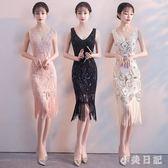 宴會晚禮服女時尚新款短款修身洋裝小禮服名媛顯瘦魚尾性感洋裝 qf4947【小美日記】