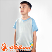 【Wildland 荒野 童椰碳印花排汗衣 灰】71672-90/兒童短袖/排汗衣
