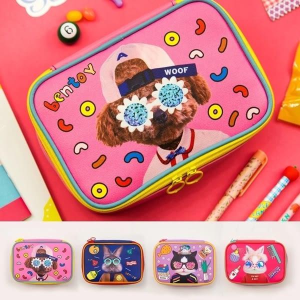 韓版實拍動物可愛方塊包化妝包收納包女士女用零錢包皮夾長夾中夾短夾手機包-共4色-B290071-FuFu
