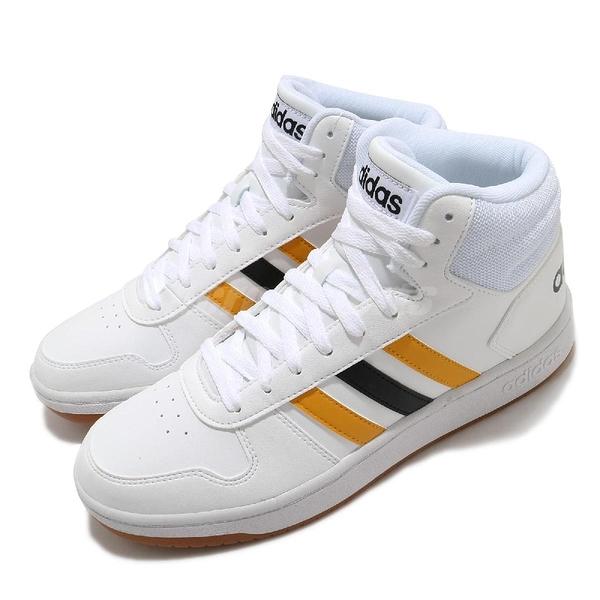 adidas 休閒鞋 Hoops 2.0 Mid 白 黃 男鞋 中筒 基本款 運動鞋 【ACS】 FW9347