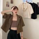 短袖西裝外套 夏季2021新薄款小個子短袖西裝外套女短款設計感寬鬆韓版西服上衣 童趣屋