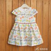 女童夏 滿印蝴蝶結水鑽兔子短袖連身裙氣質小洋裝  樂芙美鞋