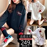 克妹Ke-Mei【AT63243】ED感手袖玫瑰火鶴電繡刺青連帽T恤上衣