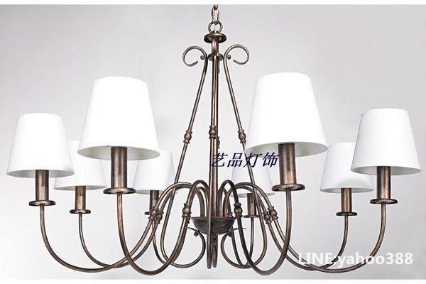 六頭吊燈 鐵藝蠟燭帶燈罩 白色 餐廳臥室客廳裝飾 歐式復古田園風