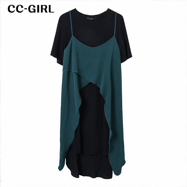 中大尺碼 兩件式短袖側開叉裙+燕尾吊帶背心 - 適XL~4L《 64891G 》CC-GIRL 新品