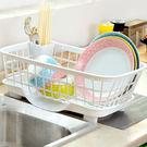 廚房用品瀝水碗架收納籃水槽置物架放筷盤碟餐具塑料濾水單層碗柜  巴黎街頭
