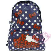 ♥小花花日本精品♥Hello Kitty x Hallmark品牌點點深藍色後背包購物袋可摺疊收納包 42165804