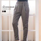 鉛筆褲--休閒時尚歐美風格鬆緊腰間裝飾車褶雙口袋純棉窄管褲(黑.灰XL-4L)-P127眼圈熊中大尺碼★