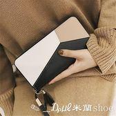 手拿包 長夾 手拿錢包長款韓版潮個性撞色拼接拉鏈手機包 ✎﹏₯㎕ 米蘭shoe