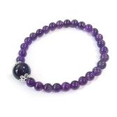 紫水晶圓珠純銀彈性手環