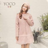 東京著衣【YOCO】溫柔美人綴鑽毛呢毛毛滾邊外套-S.M.L(171974)