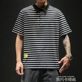 胖子加肥大碼條紋翻領polo衫男日系復古青少年學生寬鬆短袖T恤潮 依凡卡時尚