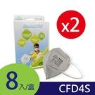 GRANDE防霾│工業歐規FFP1-CFD4S│3D立體活性碳口罩│8片/盒(2入組)