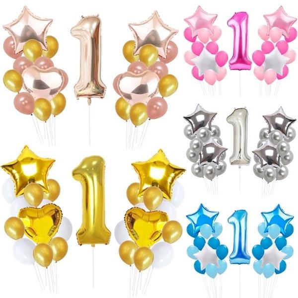 [拉拉百貨]五角星 氣球組 周歲 周歲生日 氣球套組 寶寶1歲 派對 佈置 DIY