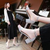 2018夏季新款中跟涼鞋女韓版百搭高跟鞋女士粗跟一字扣帶小碼女鞋 滿天星