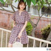 《DA5815-》腰間綁帶民族風滿版印花設計v領洋裝 OB嚴選