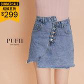 (現貨-藍S.L.XL)PUFII-牛仔短裙 不對稱排釦車線不修邊丹寧A字牛仔短裙-0426 現+預 春【CP14498】