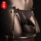大碼男士內褲三角吊帶短褲長筒超薄透明性感蕾絲帶jj套絲襪丁字褲【XH_】