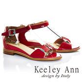 ★零碼出清★Keeley Ann摩登時尚~亮澤幾何方塊金屬飾釦全真皮中跟涼鞋(紅色)-Ann系列