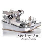 ★零碼出清★Keeley Ann魅惑科技風質感壓紋真皮厚底涼鞋(銀色)-Ann系列