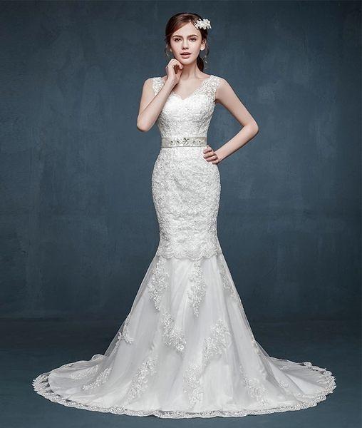 婚紗禮服雙肩V領綁帶魚尾修身款顯瘦婚紗新娘定制-lany0037
