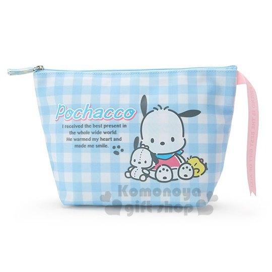 〔小禮堂〕帕恰狗 帆布船形化妝包《藍白格紋》收納包.萬用包.歡樂氛圍系列 4901610-08444