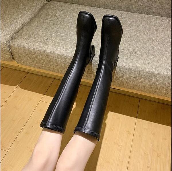 長筒靴 小個子長靴女不過膝高筒騎士靴春秋單靴粗跟皮靴大碼長筒靴子