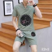 夏季新款男士休閒套裝 中國風上衣 短褲 時尚棉麻兩件式短袖褲裝 CJ4087『易購3c館』