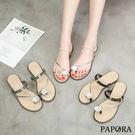 PAPORA方鑽兩穿式夾腳涼拖鞋K11444黑/綠/杏