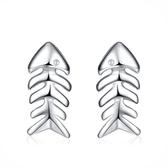 耳環 925純銀鑲鑽銀飾-可愛魚骨頭生日情人節禮物女飾品73dy126【時尚巴黎】