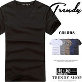 『潮段班』【BS0X0005】簡約舒適素面V領設計棉質短袖T恤