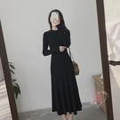 內搭裙 赫本風小黑裙配大衣穿長裙顯瘦氣質內搭秋冬裙子過膝針織連衣裙女