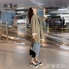 外套 寬鬆格子西裝外套女春季韓版英倫風時尚百搭西服上衣小個子
