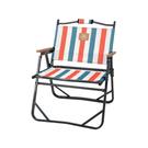 [Snowline] 平板鋁合折收椅 木扶手 條紋橘 (SN95ULC004-SO)