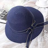 草帽女夏天度假防曬沙灘帽休閒百搭遮陽帽時尚韓版漁夫帽太陽帽子【台秋節快樂】