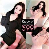 克妹Ke-Mei【ZT56214】歐美時尚名媛風 寬羅紋包臀拉鍊毛球連帽大衣洋裝