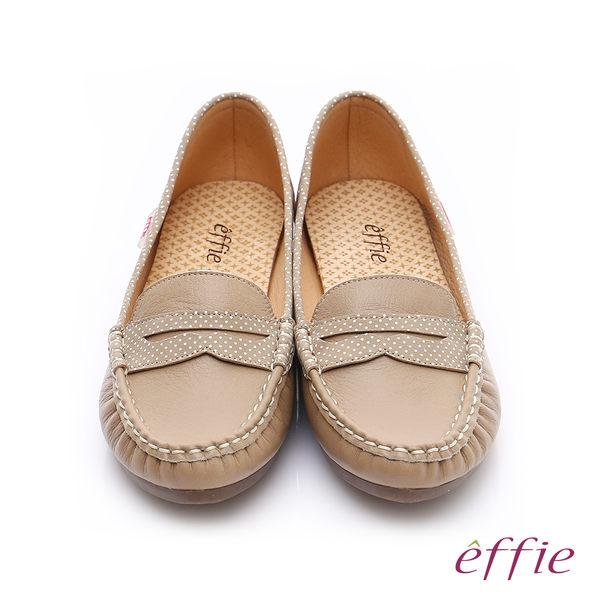 effie 縫線包仔鞋 真皮點點奈米樂福平底鞋  卡其